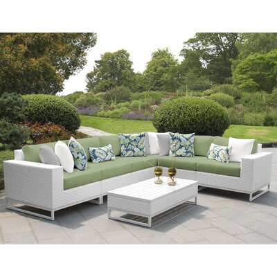 Miami 7 Piece Sectional Seating Group with Cushions Fabric: Cilantro