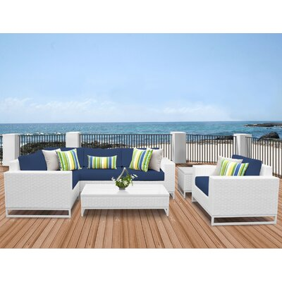 Miami 7 Piece Sectional Seating Group with Cushions Fabric: Navy