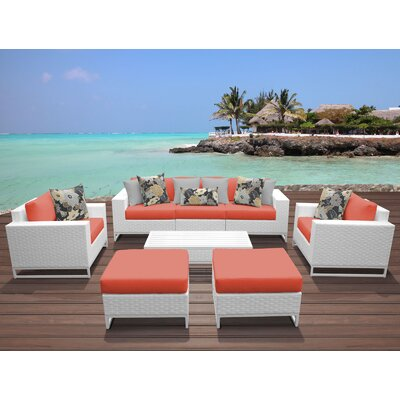 Miami 8 Piece Deep Seating Group with Cushions Fabric: Tangerine