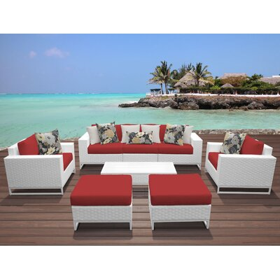 Miami 8 Piece Deep Seating Group with Cushions Fabric: Terracotta