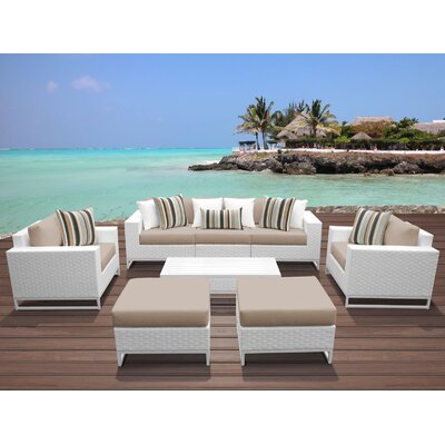Miami 8 Piece Deep Seating Group with Cushions Fabric: Wheat
