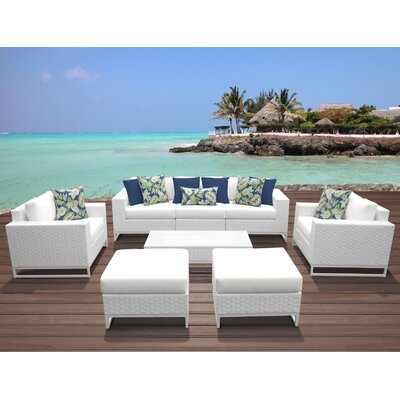 Miami 8 Piece Deep Seating Group with Cushions Fabric: White