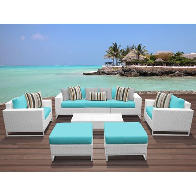 Miami 8 Piece Deep Seating Group with Cushions Fabric: Aruba