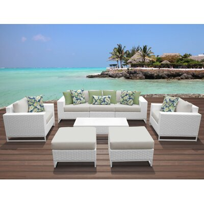 Miami 8 Piece Deep Seating Group with Cushions Fabric: Beige