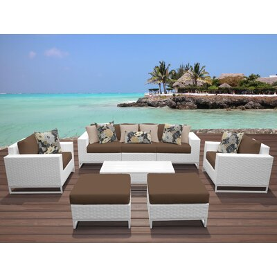 Miami 8 Piece Deep Seating Group with Cushions Fabric: Cocoa