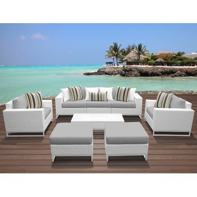 Miami 8 Piece Deep Seating Group with Cushions Fabric: Gray