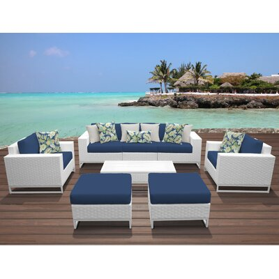 Miami 8 Piece Deep Seating Group with Cushions Fabric: Navy