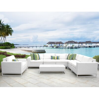 Miami 8 Piece Sectional Seating Group with Cushions Fabric: White