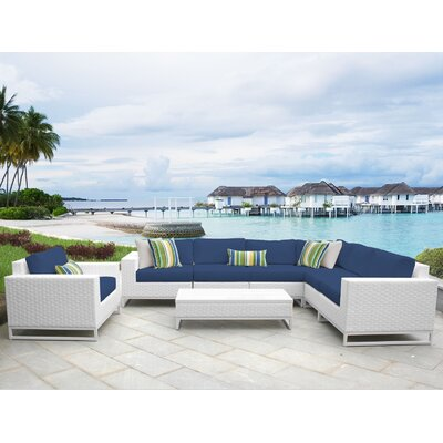 Miami 8 Piece Sectional Seating Group with Cushions Fabric: Navy