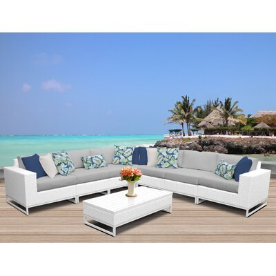 Miami 8 Piece Sectional Seating Group with Cushions Fabric: Gray