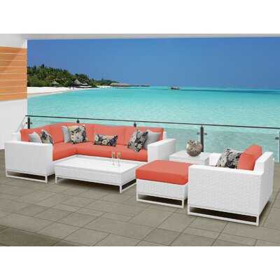Miami 8 Piece Sectional Seating Group with Cushions Fabric: Tangerine
