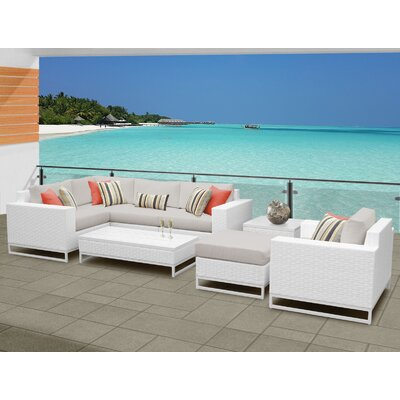 Miami 8 Piece Sectional Seating Group with Cushions Fabric: Beige
