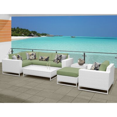 Miami 8 Piece Sectional Seating Group with Cushions Fabric: Cilantro