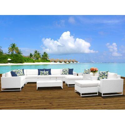 Miami 13 Piece Sectional Seating Group with Cushions Fabric: White