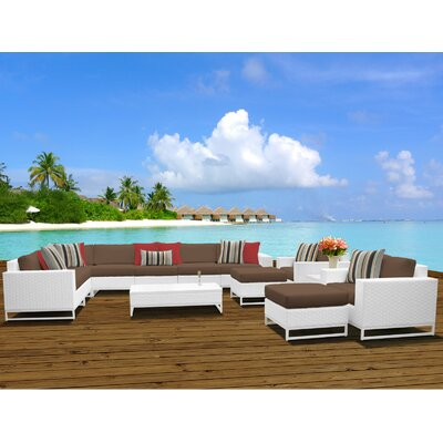 Miami 13 Piece Sectional Seating Group with Cushions Fabric: Cocoa