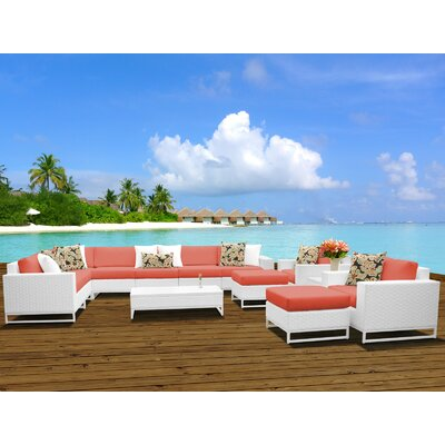 Miami 13 Piece Sectional Seating Group with Cushions Fabric: Tangerine