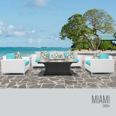 Miami 6 Piece Deep Seating Group with Cushions Fabric: White