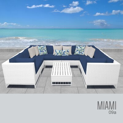 Miami 9 Piece Sectional Seating Group with Cushions Fabric: Aruba