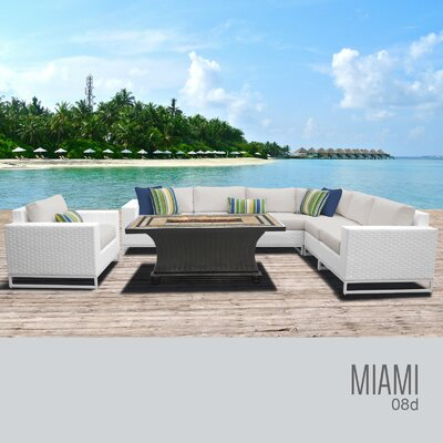 Miami 8 Piece Sectional Seating Group with Cushions Fabric: Terracotta
