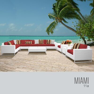 Miami 11 Piece Deep Seating Group with Cushions Fabric: Tangerine