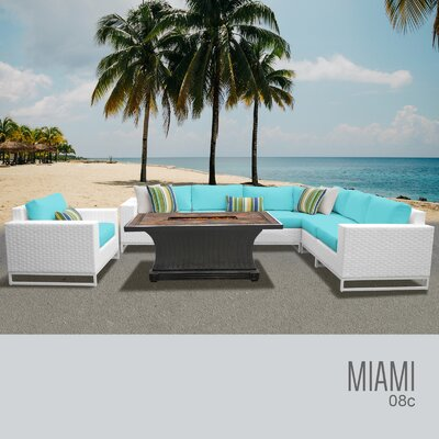 Miami 8 Piece Sectional Seating Group with Cushions Fabric: Cocoa