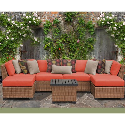 Laguna 7 Piece Sectional Seating Group with Cushion Fabric: Tangerine