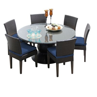 Napa 7 Piece Dining Set with Cushions Cushion Color: Navy