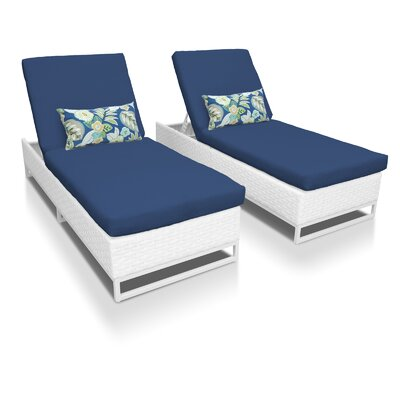 Miami Chaise Lounges with Cushions Fabric: Navy