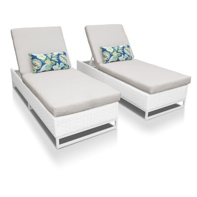 Miami Chaise Lounges with Cushions Fabric: Beige