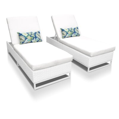 Miami Chaise Lounges with Cushions Fabric: White