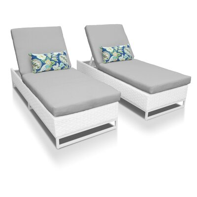 Miami Chaise Lounges with Cushions Fabric: Gray