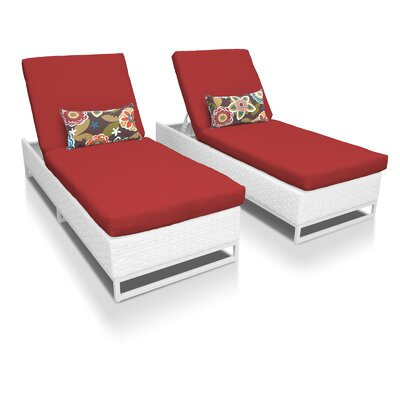 Miami Chaise Lounges with Cushions Fabric: Terracotta