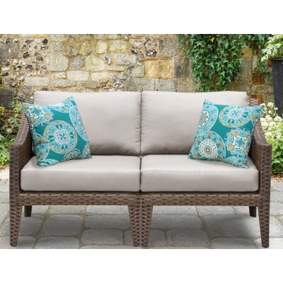 Manhattan Outdoor Wicker Loveseat with Cushions Fabric: Beige