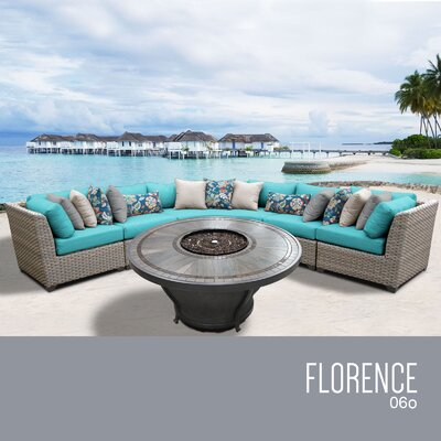 Florence Outdoor 6 Piece Wicker Sectional Set with Cushions Cushion Color: Aruba