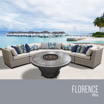 Florence Outdoor 6 Piece Wicker Sectional Set with Cushions Cushion Color: Beige