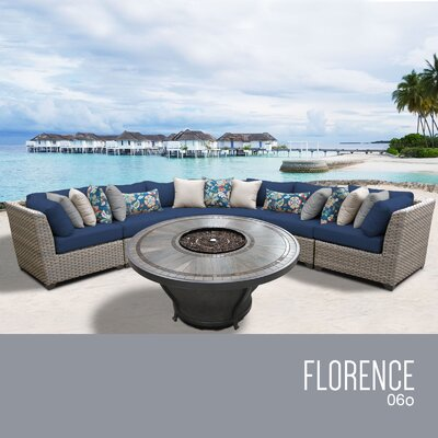 Florence Outdoor 6 Piece Wicker Sectional Set with Cushions Cushion Color: Navy