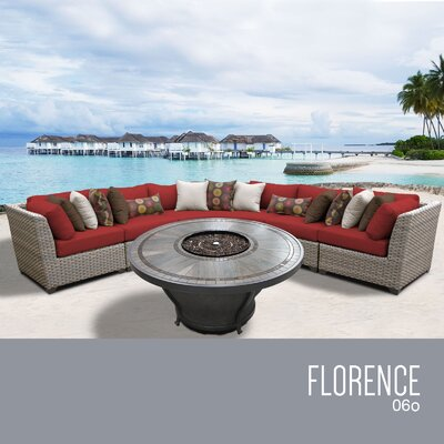 Florence Outdoor 6 Piece Wicker Sectional Set with Cushions Cushion Color: Terracotta