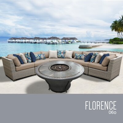 Florence Outdoor 6 Piece Wicker Sectional Set with Cushions Cushion Color: Wheat