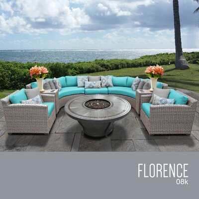 Florence Outdoor 8 Piece Wicker Sofa Set with Cushions Cushion Color: Aruba