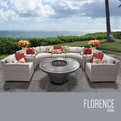 Florence Outdoor 8 Piece Wicker Sofa Set with Cushions Cushion Color: Beige