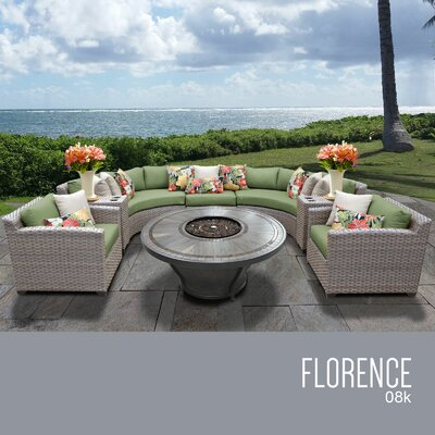 Florence Outdoor 8 Piece Wicker Sofa Set with Cushions Cushion Color: Cilantro