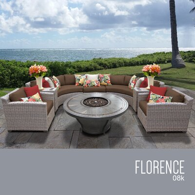 Florence Outdoor 8 Piece Wicker Sofa Set with Cushions Cushion Color: Cocoa