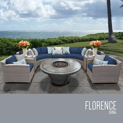 Florence Outdoor 8 Piece Wicker Sofa Set with Cushions Cushion Color: Navy
