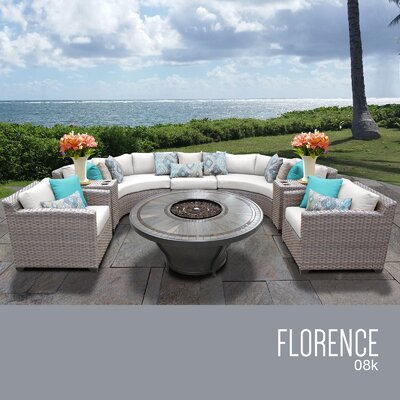 Florence Outdoor 8 Piece Wicker Sofa Set with Cushions Cushion Color: Sail White