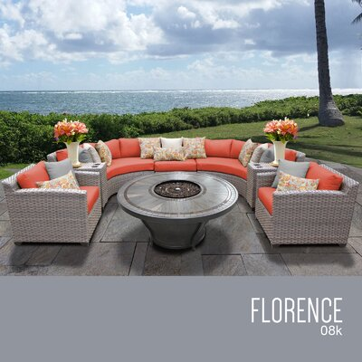 Florence Outdoor 8 Piece Wicker Sofa Set with Cushions Cushion Color: Tangerine