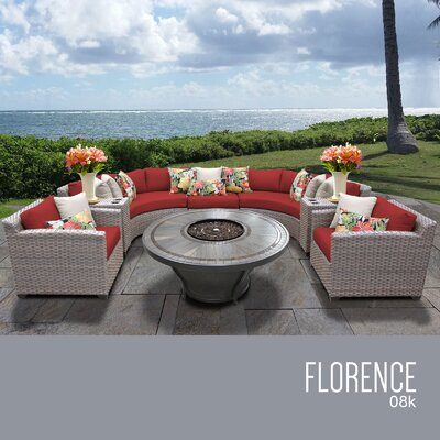 Florence Outdoor 8 Piece Wicker Sofa Set with Cushions Cushion Color: Terracotta