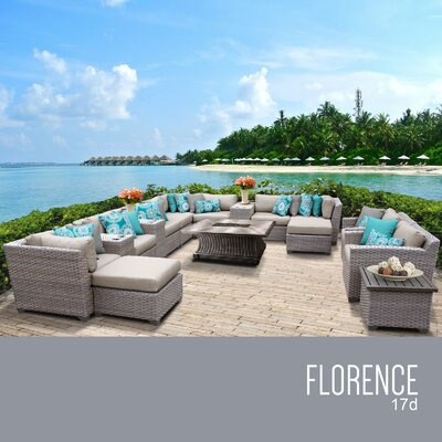 Florence Outdoor 17 Piece Wicker Conversation Set with Cushions Cushion Color: Beige