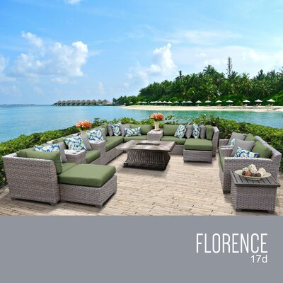 Florence Outdoor 17 Piece Wicker Conversation Set with Cushions Cushion Color: Cilantro