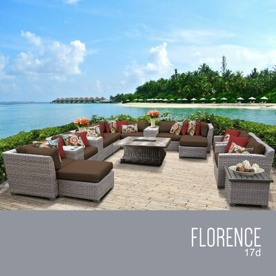 Florence Outdoor 17 Piece Wicker Conversation Set with Cushions Cushion Color: Cocoa