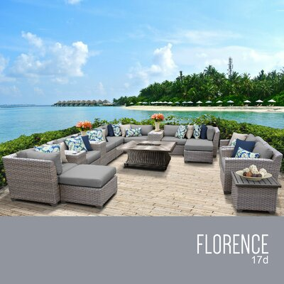 Florence Outdoor 17 Piece Wicker Conversation Set with Cushions Cushion Color: Gray